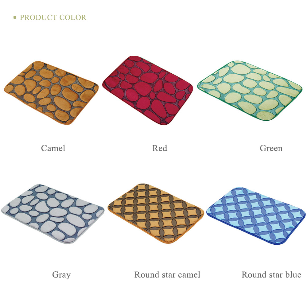 Funnel Bath Bathroom 3D Cobblestone Print Anti-slip Carpet Mat Floor RugPad