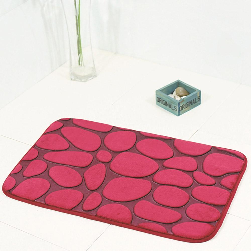 Funnel Bath Bathroom 3D Cobblestone Print Anti-slip Carpet