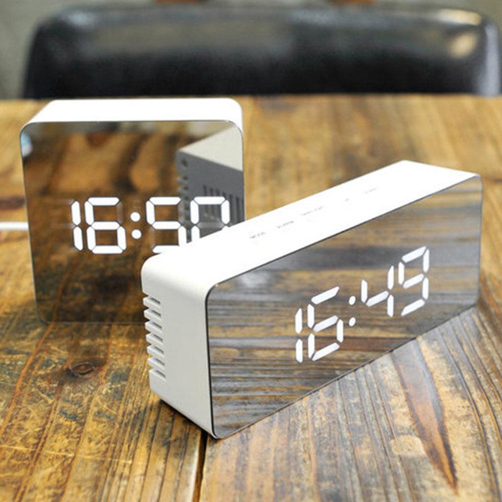 MultifunctionDigital LEDMute AlarmClock Nightlight Make-up MirrorTherometer
