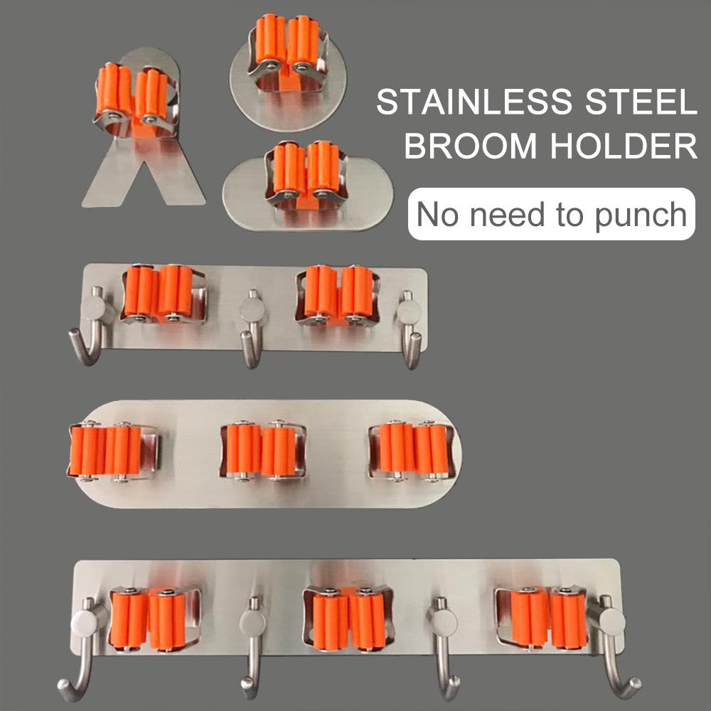 Stainless Steel Multifunction RakeMop Organizer Broom Storage Holder W/Hook