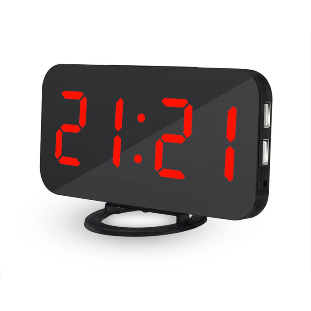 Modern Digital Led Alarm Clock Make Up Mirror Table