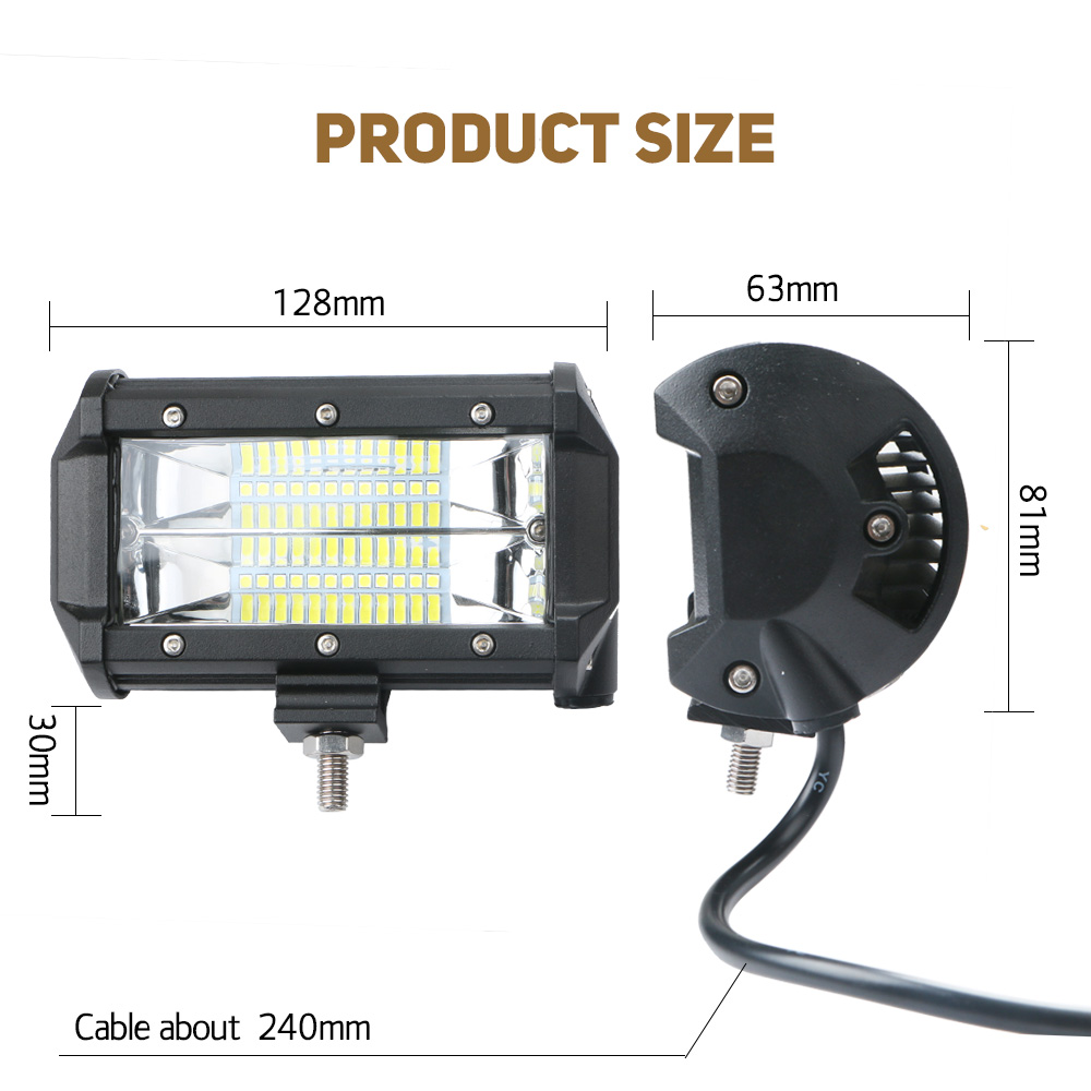 Universal 72W LED Car Work Light Off-road Tractor Worklight Lamp Bar