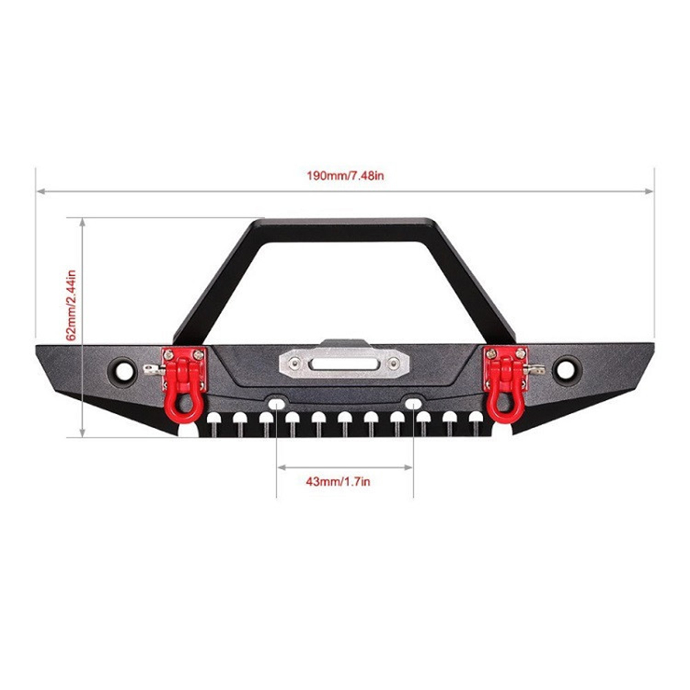 Metal Front Bumper W/Light for 1/10 Axial SCX10 90046 RC Car Accessory