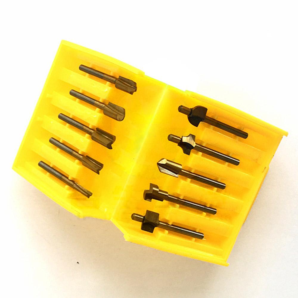 10pc 1/8Inch Shank HSS Titanium Trimmer Router Bit Woodwork Milling Cutter