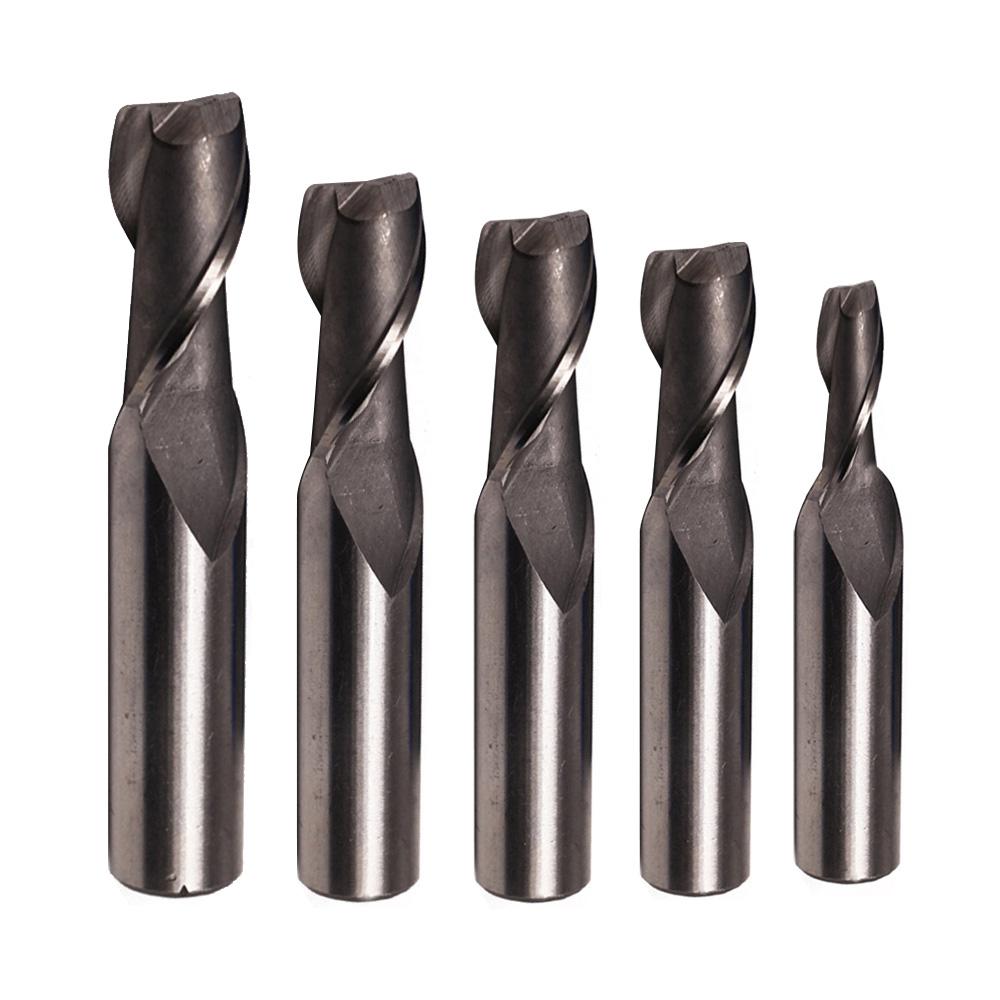 HSS 2Flute 4/6/8/10/12mm Straight Shank End Mill Router Bit Milling Cutter
