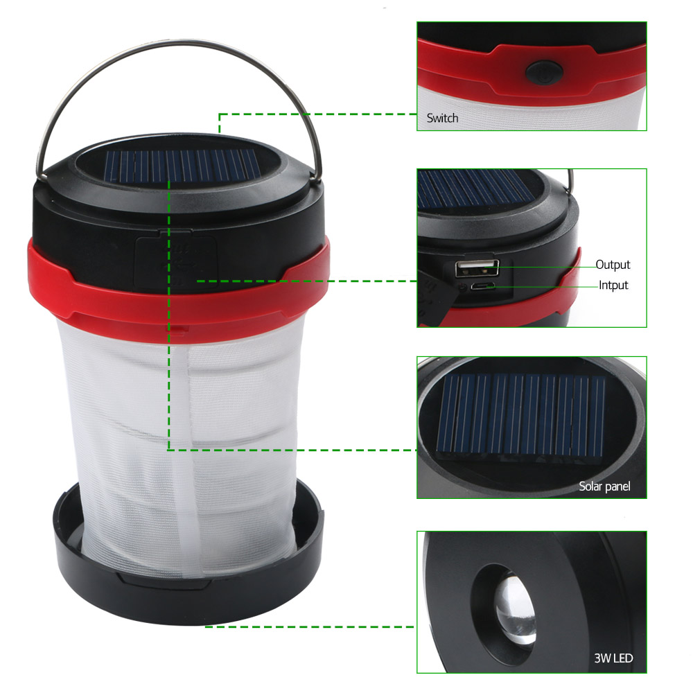 3W Collapsible Portable LED Solar Camping Latern Lamp Tent Light Power Bank