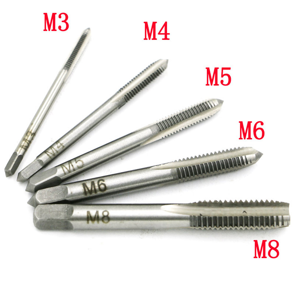 M3-M8 Hand Screw Thread Hole Metric Plug Straight Flute Tap W/RatchetWrench