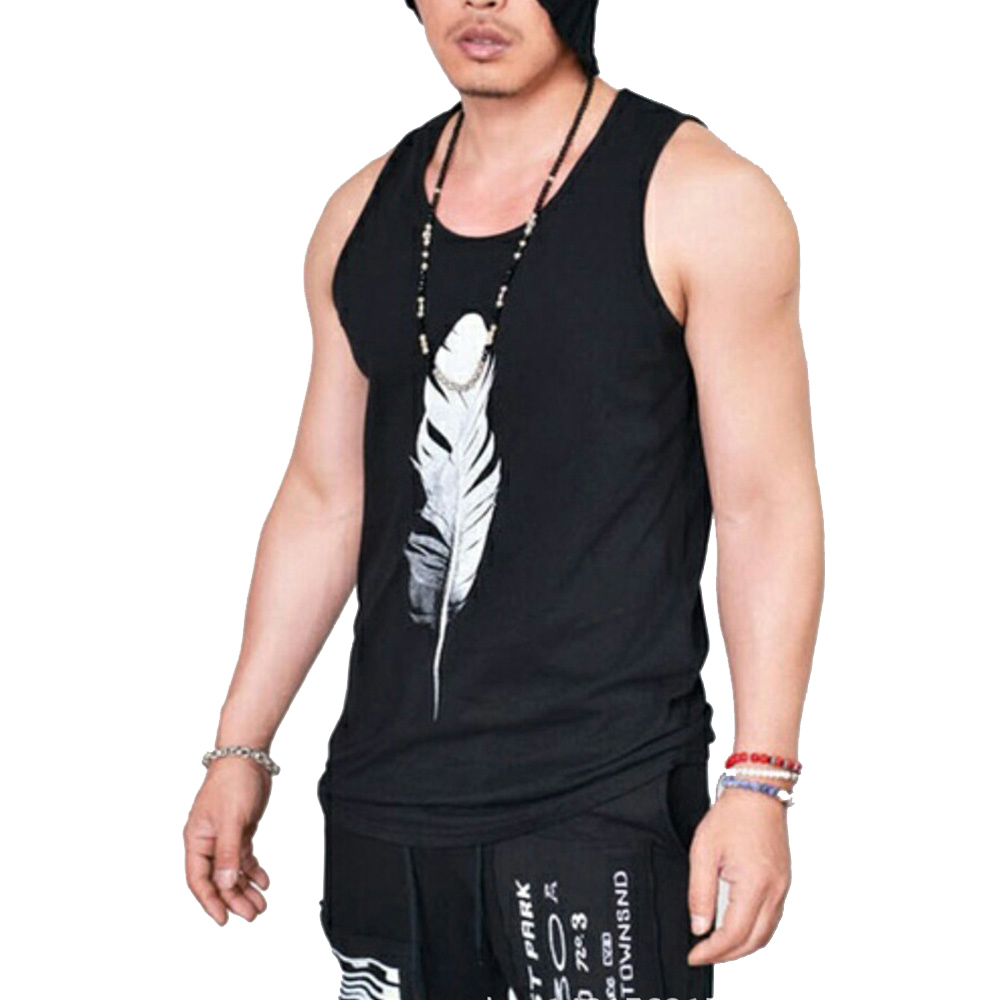 Wholesale Black Men Sleeveless 3D Feather Print Cool T-shirt Vest Gym Sportswear L