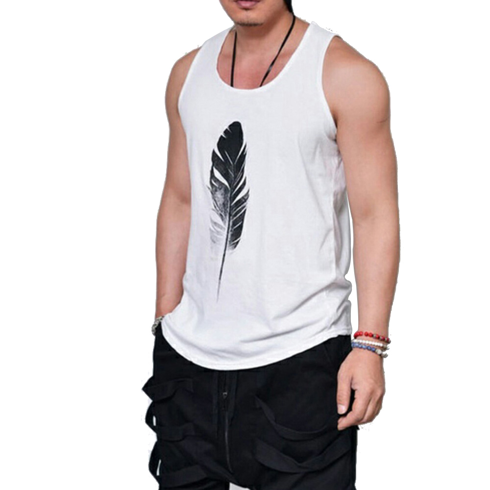 Wholesale White Men Sleeveless 3D Feather Print Cool T-shirt Vest Gym Sportswear L