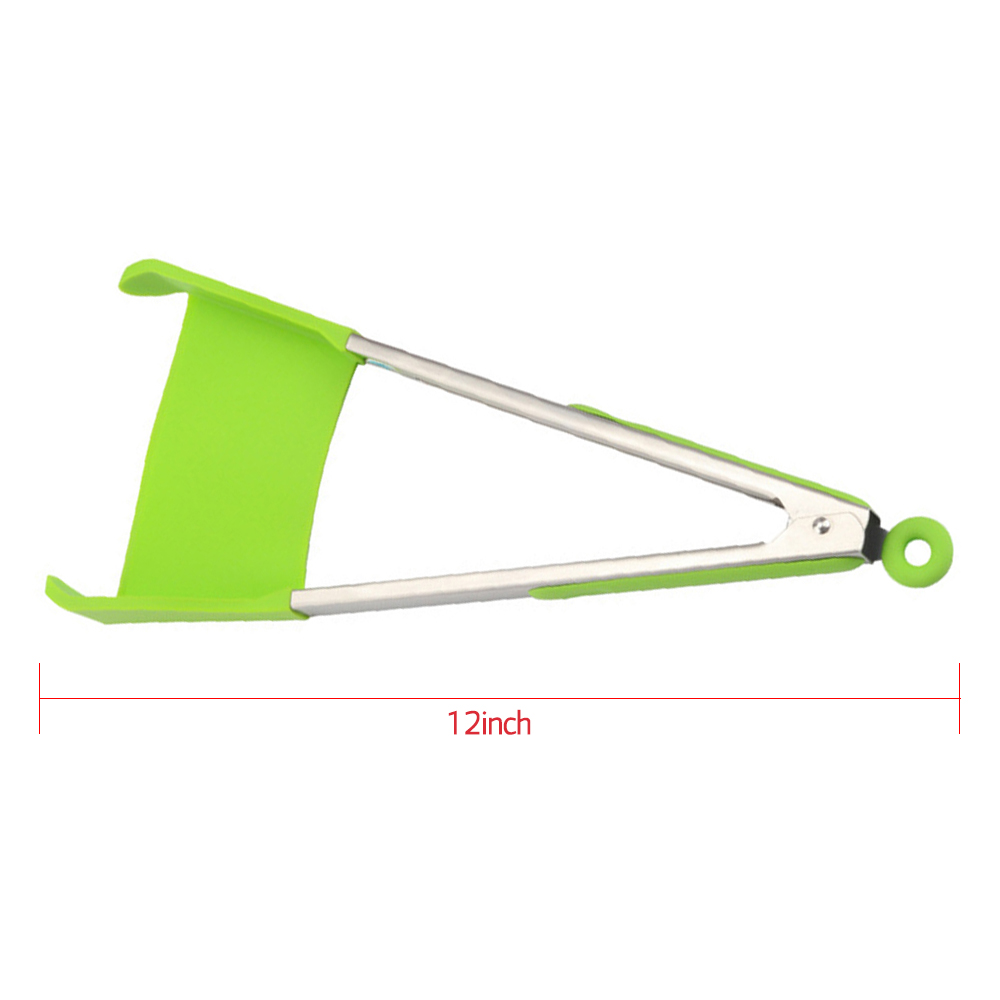 2in1 Non-stick Stainless Steel Frame Heat-resistant Silicone Spatula Tong
