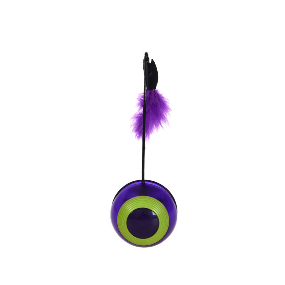 Cat Interactive Toy LED Roller Pet Tumbler Flashing Feather Squeaky Ball