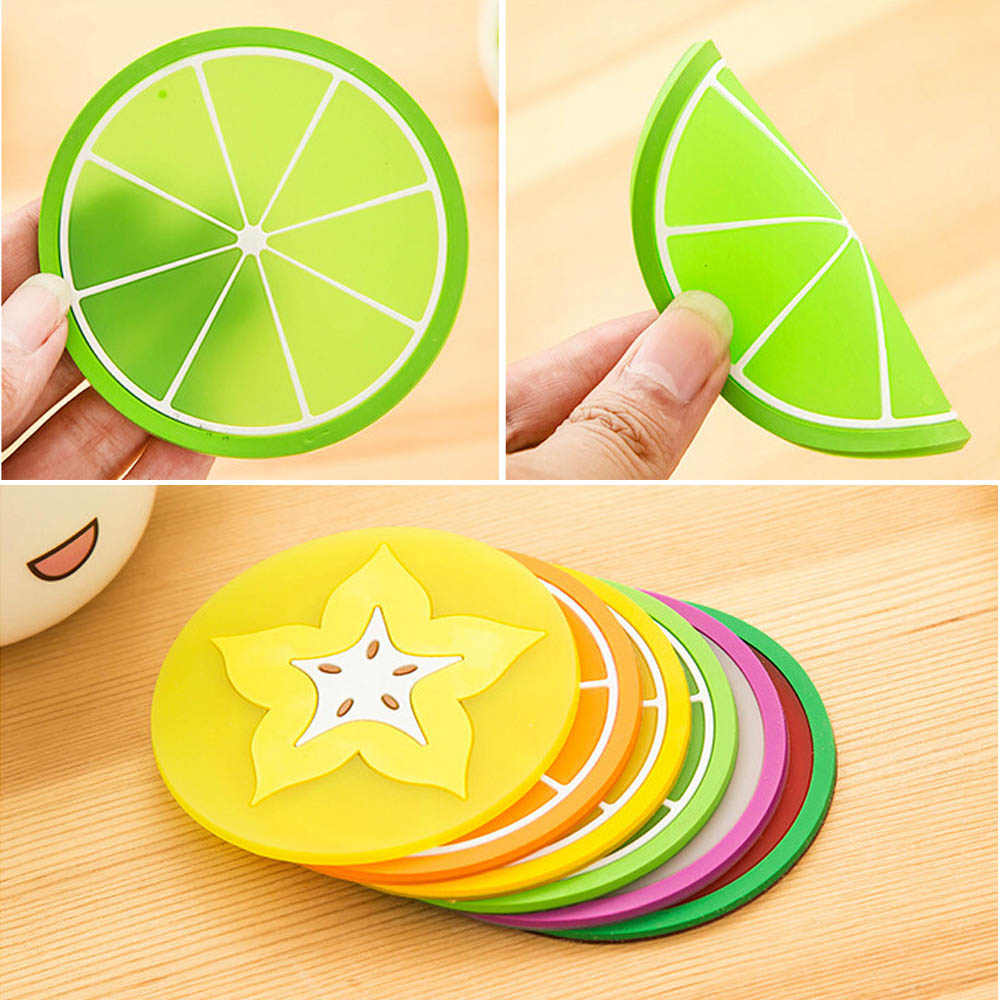 Silicone Coasters Fruit Cup Placemat Mat Round Heat-resistant Coffee Pad