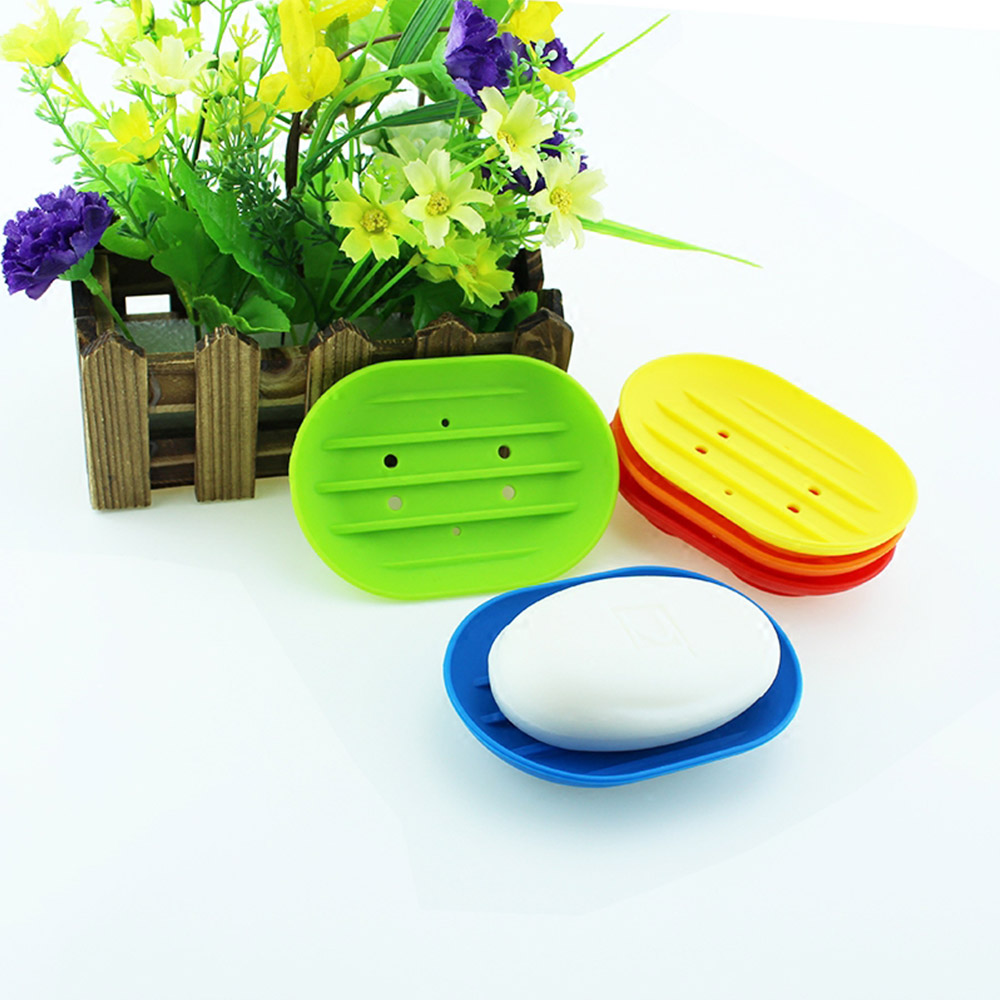 Silicone Soap Dish W/Drainage Holes Eco-friendly Bathroom Soap Holder