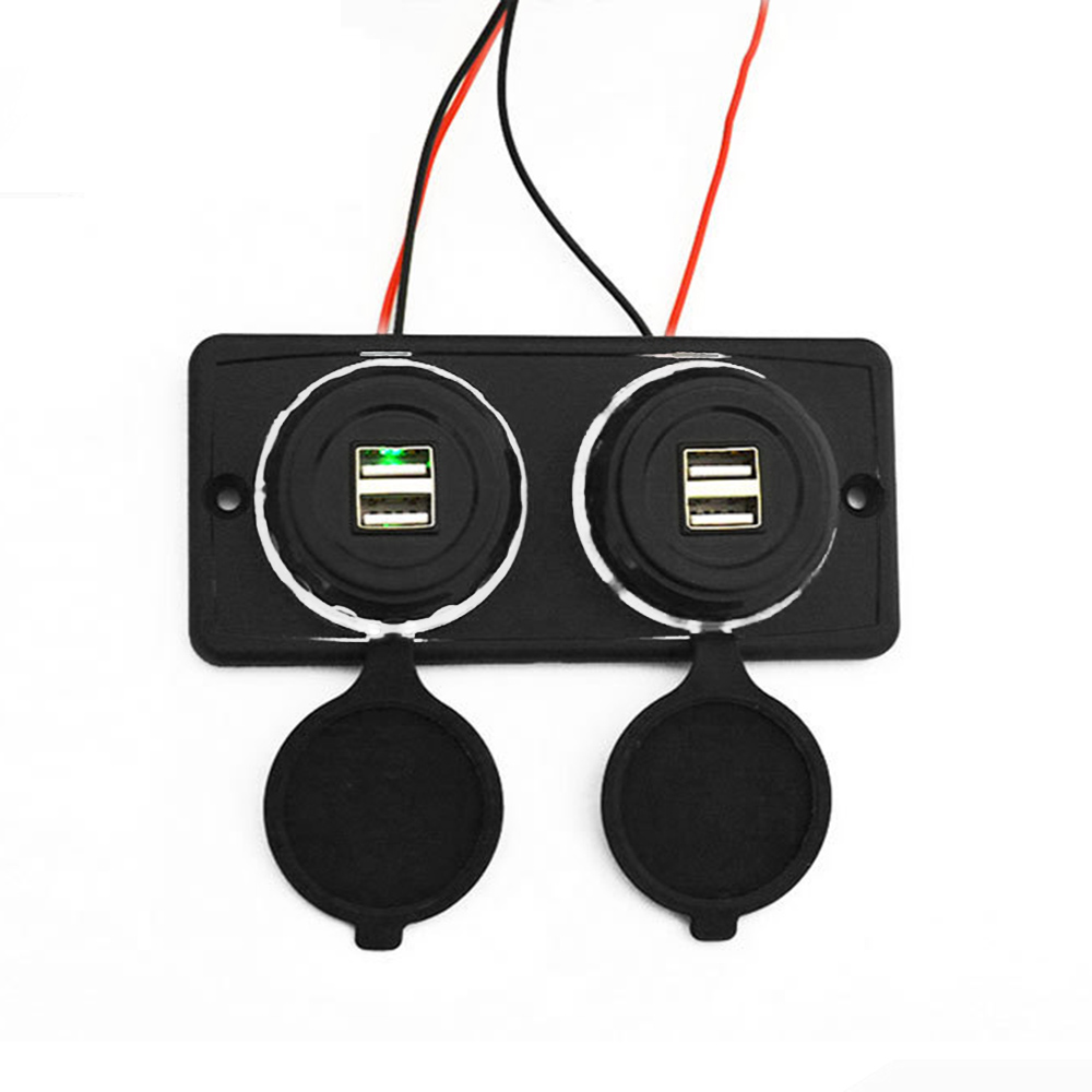 Dual USB Port Charger Socket Outlet 12V for Motorcycle Car Marine Boat