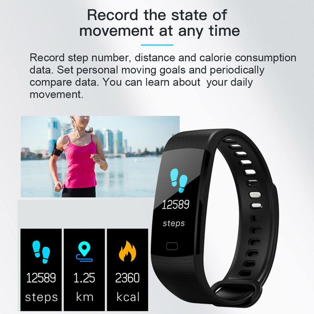 Wholesale Fitness Tracker Wireless Bluetooth Track Watch W/Heart Rate Monitor Black