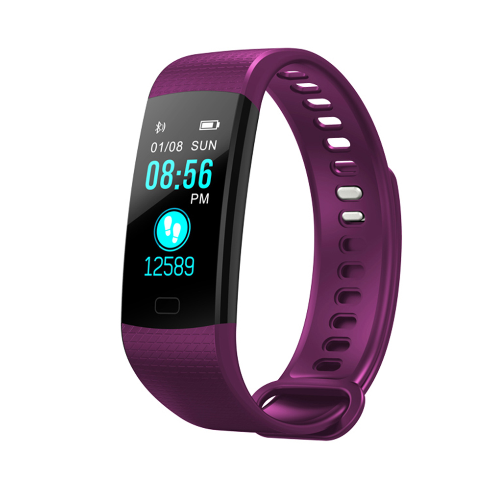 Wholesale Fitness Tracker Wireless Bluetooth Track Watch W/Heart Rate Monitor Purple