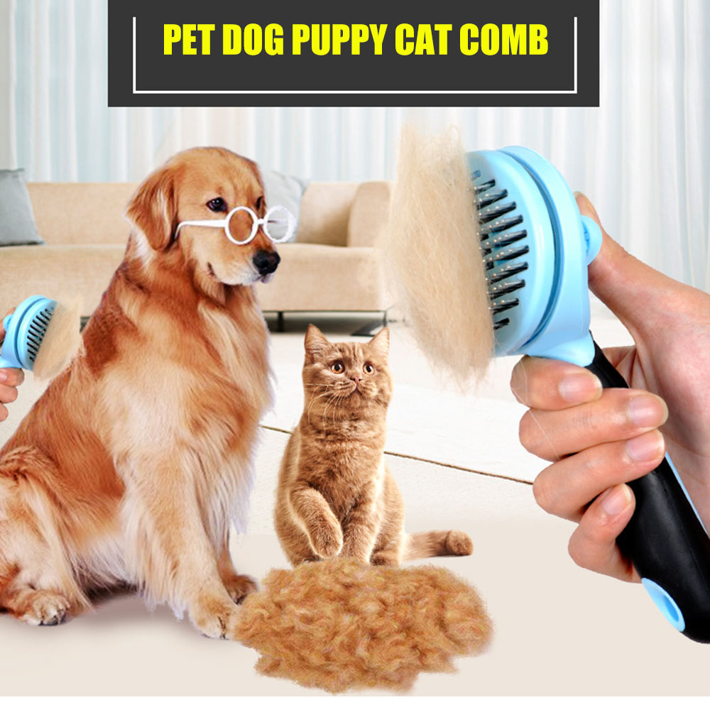 Massage Slicker Pet Dog Grooming Brush Cat Fur Shedding Comb Rake Tool
