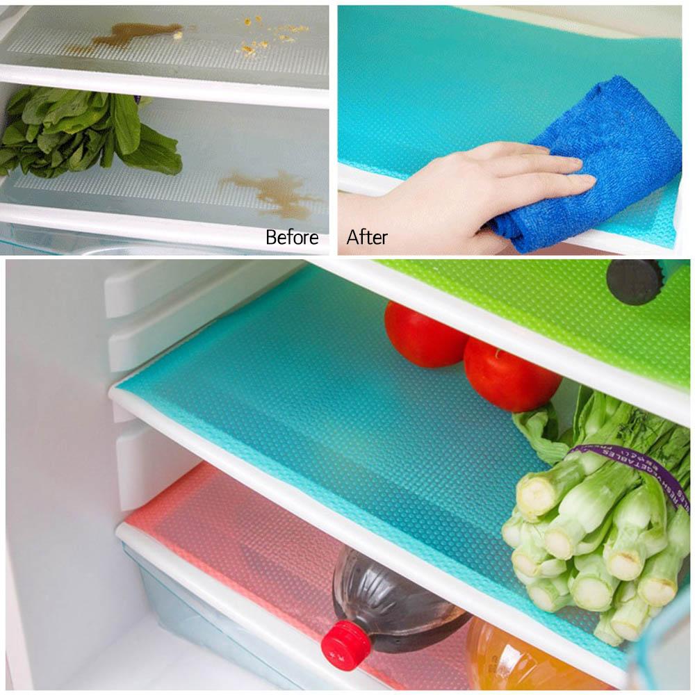Refrigerator Pad Antibacterial Mats Shelf Liners Antifouling Pads 4pcs/set