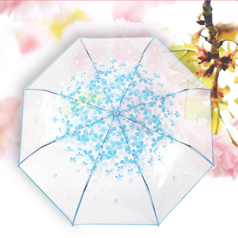 Clear Cherry BlossomUmbrella 3Folding Compact WindproofTransparent Umbrella
