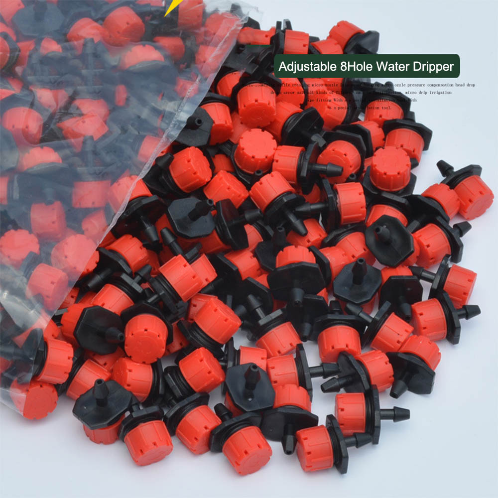 Micro Flow Dripper Drip Head 8Hole1/4 Inch Adjustable Hose 100PCS