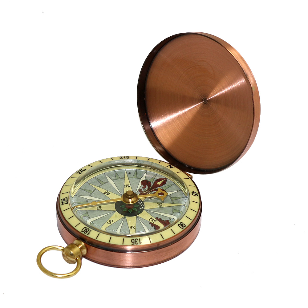 Copper Outdoor Camping Hiking G50-1 Compass W/Dustproof Cover