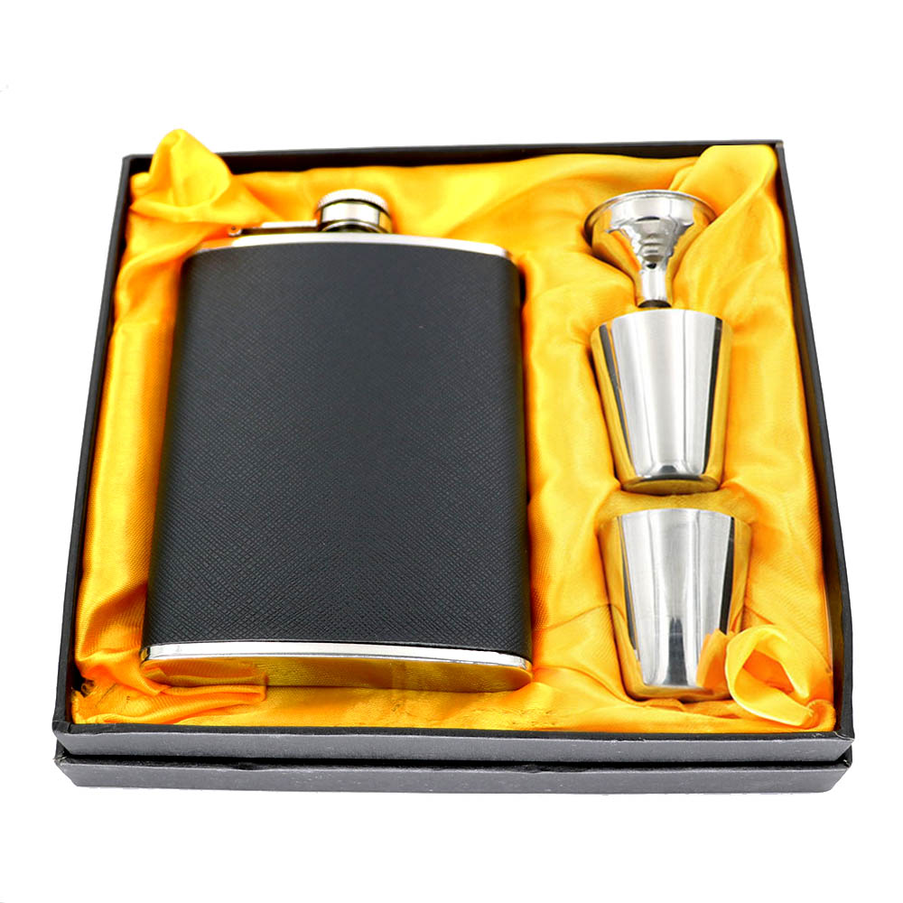 Portable Mini Stainless Steel Wine Whiskey Hip Flask Travel Set W/Funnel