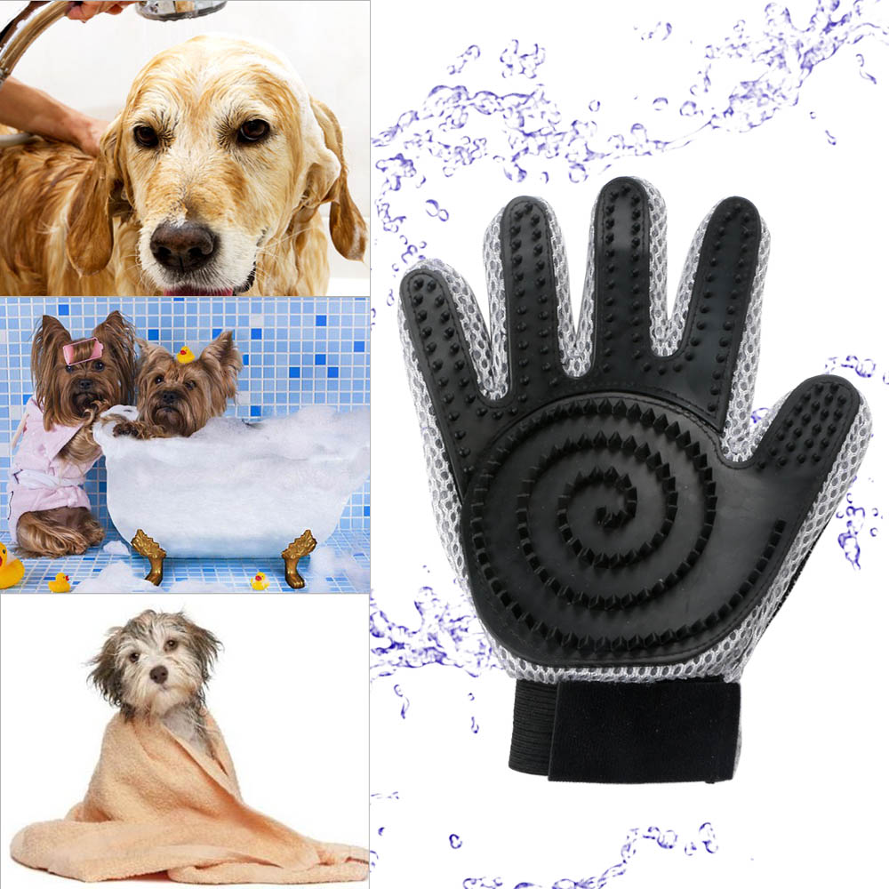 Pet Grooming Glove For Cats Dogs Deshedding Comb Mitten Hair Removal Brush #D