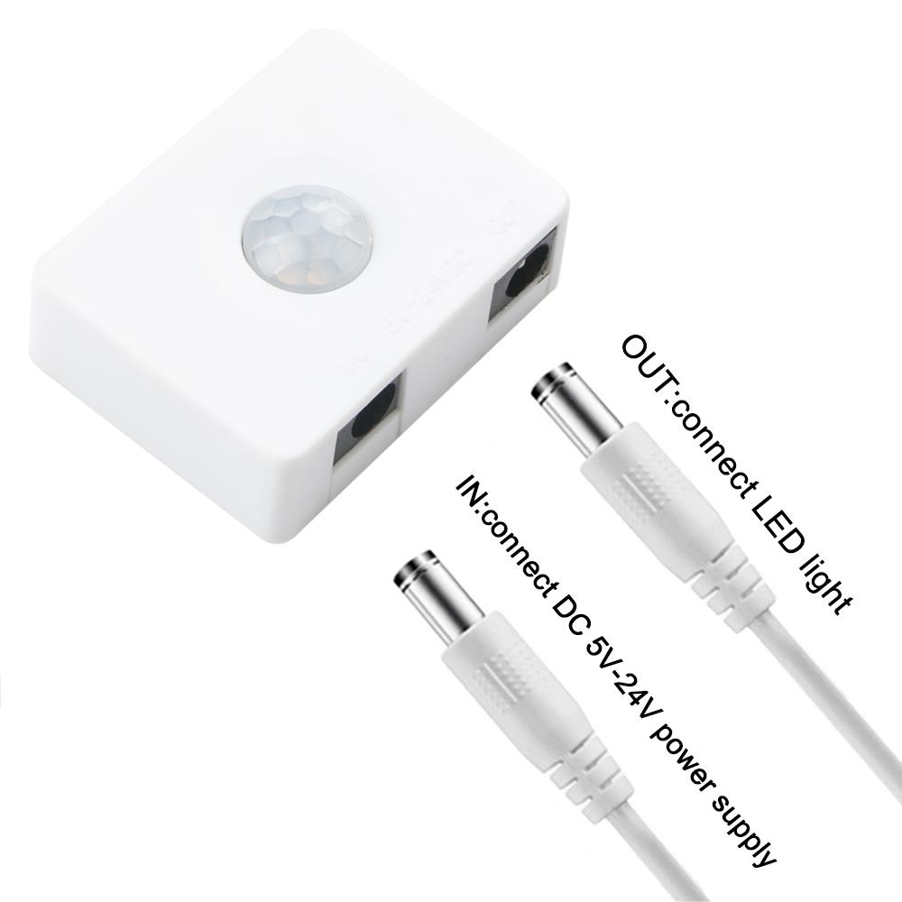 Wholesale Mini DC5-24V Light Control PIR Motion Sensor Corridor Detector Switch White