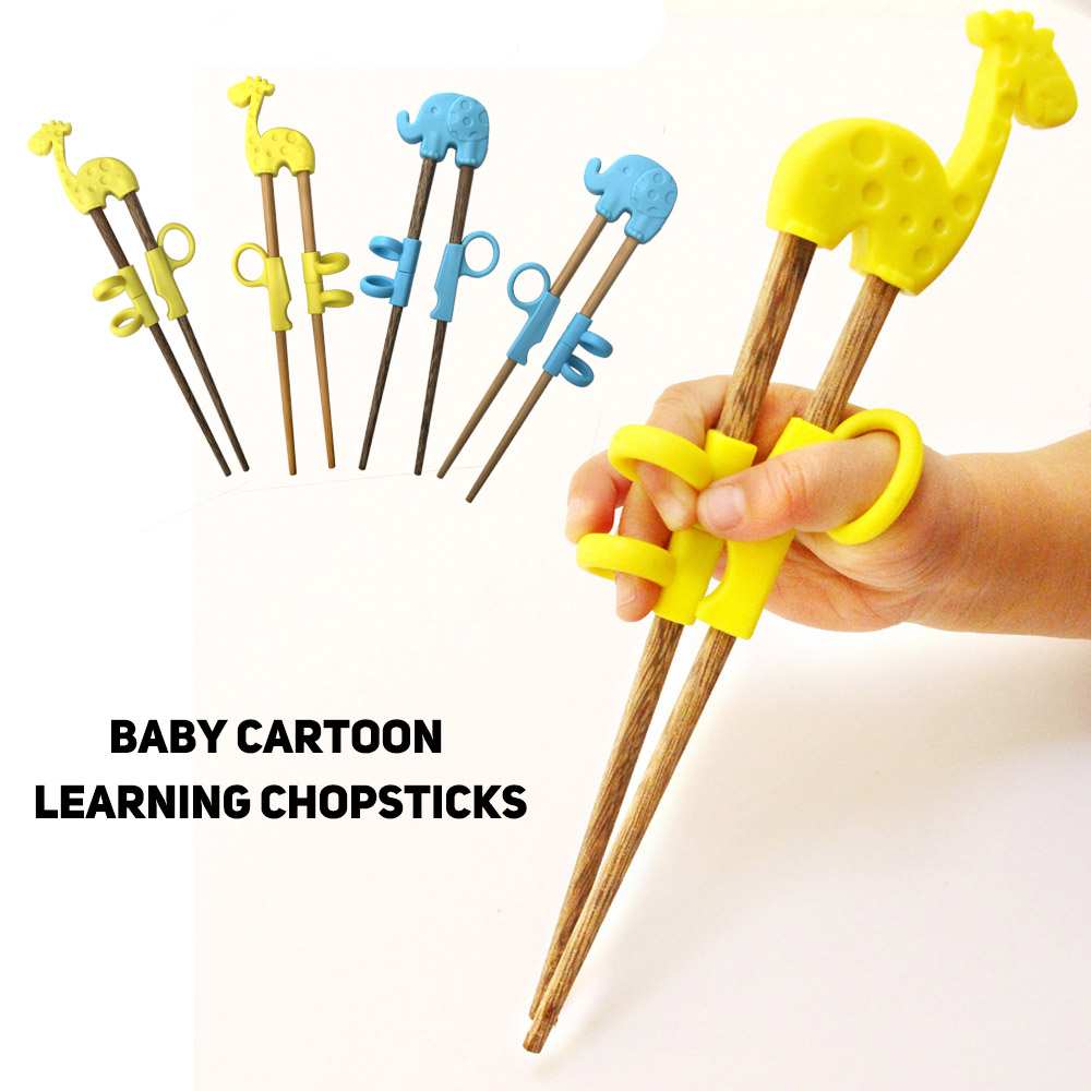 Baby Training Chopsticks Kids Wood Silicone Learning Reusable Chopsticks S