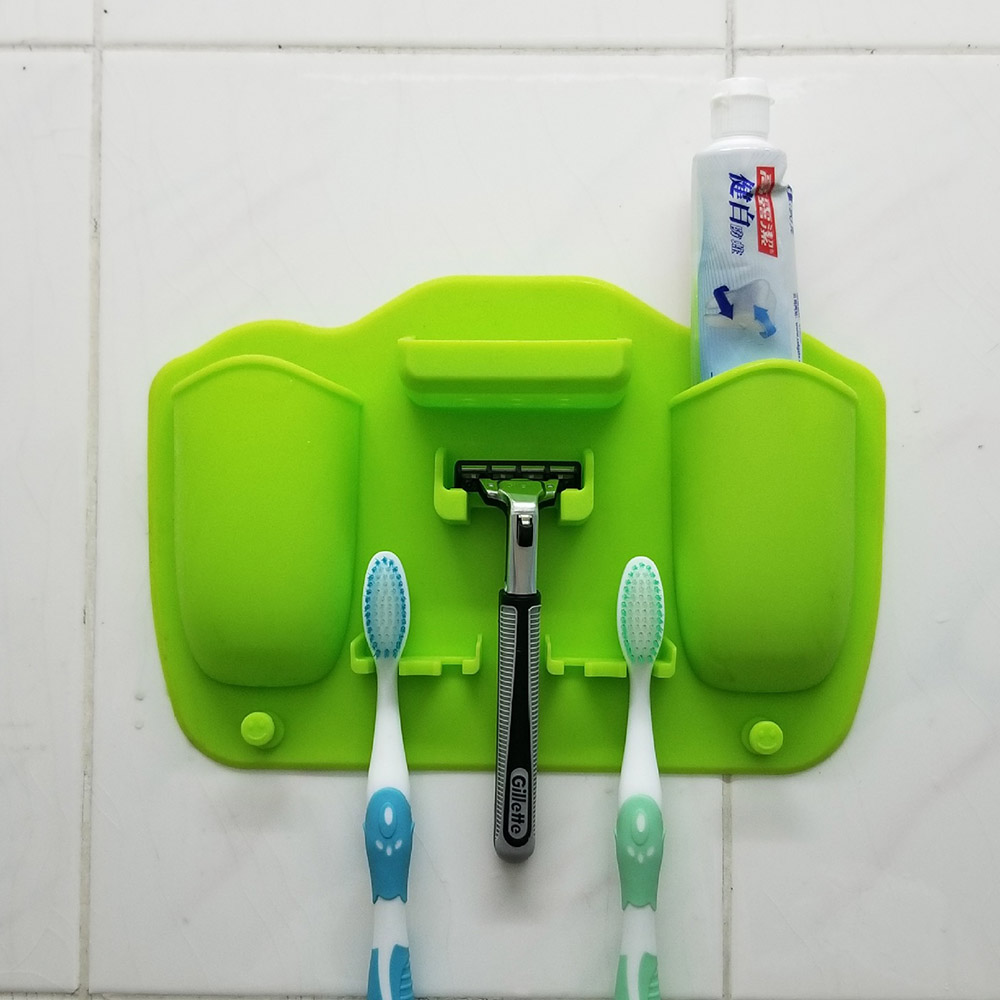 2Hole Silicone Mighty Toothbrush Razor Holder Organizer Bathroom Decor