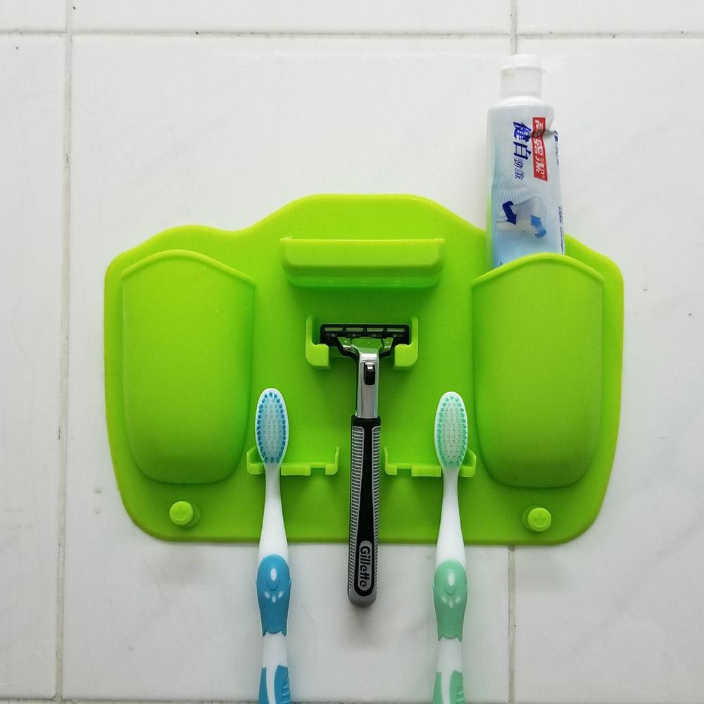 2Hole Silicone Mighty Toothbrush Razor Holder Organizer Bathroom Decor
