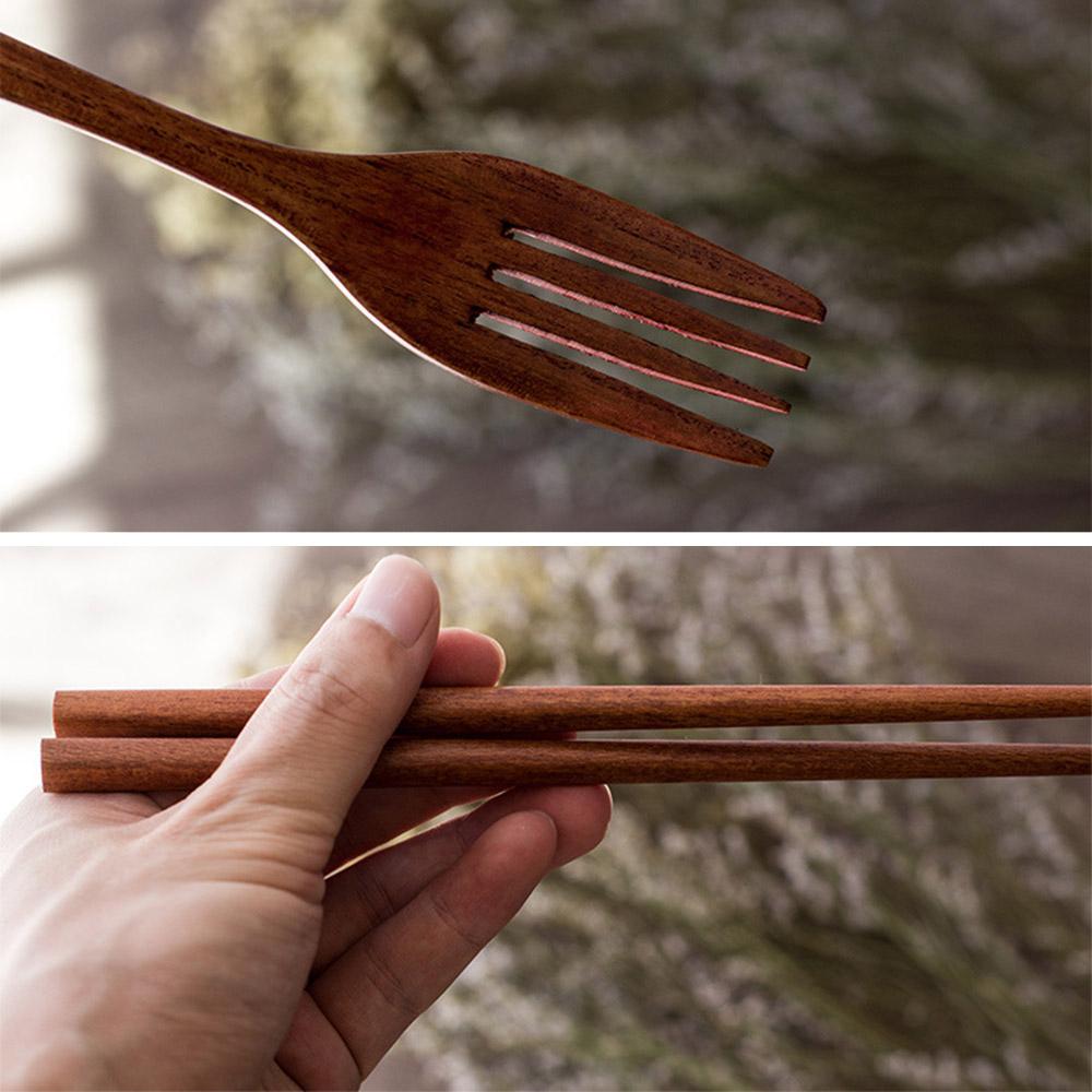Portable Wooden Reusable Spoon Fork Chopsticks Set Tableware Flatware