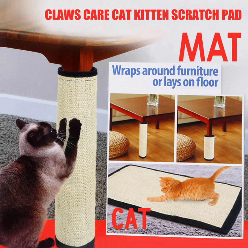 Sisal Scratcher Mat Claws Care Cat Kitten Scratch Pad Furniture Protector
