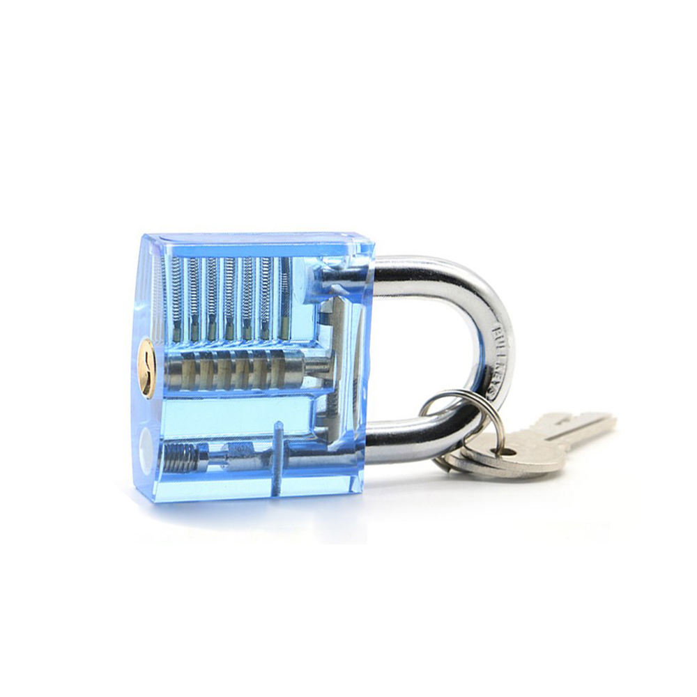Blue Transparent Visible Cutaway Practice Padlock Flat Lock Locksmith Tool