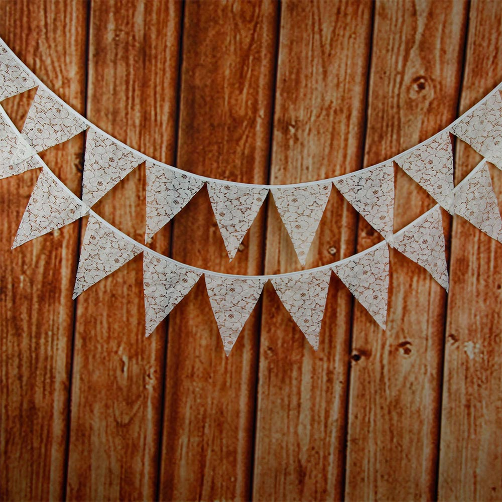 Vintage White Lace Triangle Flag Bunting Pennant Banner for Wedding Decor OK