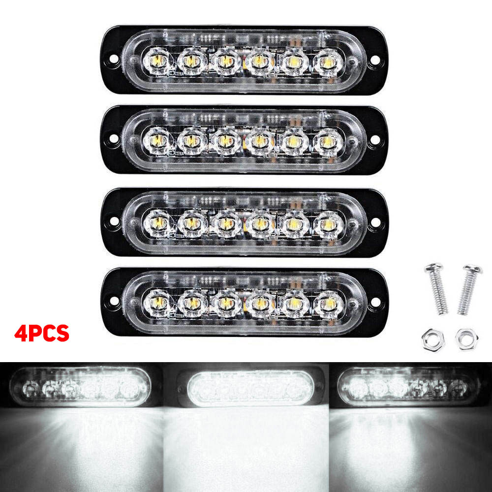 Wholesale 4pc 6LED 18W 18Mode Car Truck Strobe Flash Emergency Warning Light BarLamp