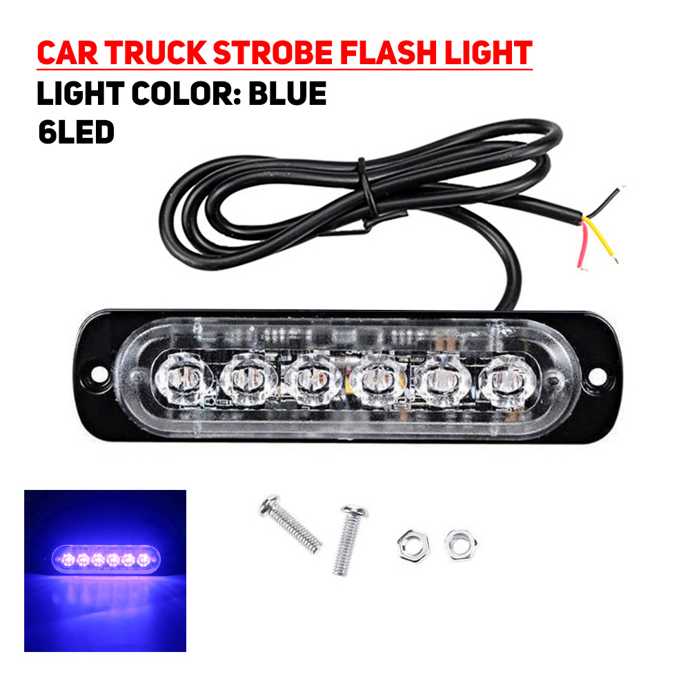 6LED 18W Universal Car Truck Strobe Flash Emergency Warning Light Bar Lamp