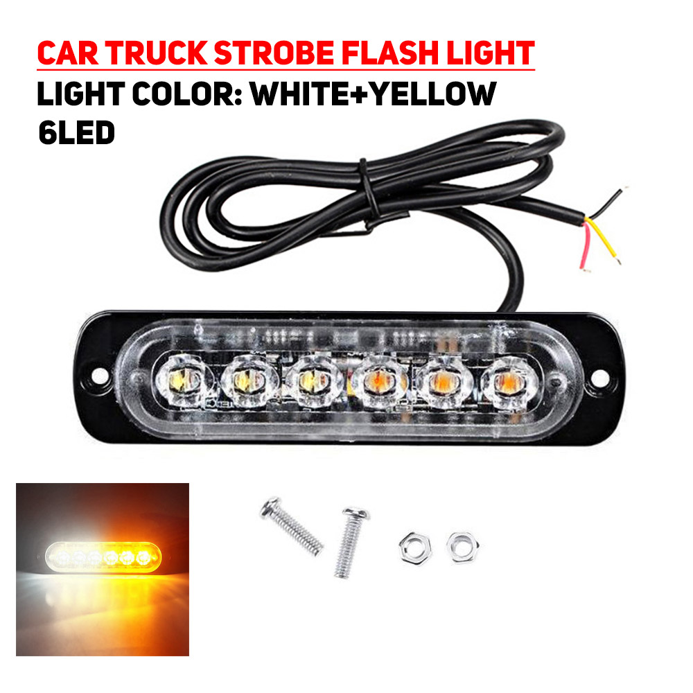 6LED 18W Car Truck Dual Color Strobe Flash Emergency Warning Light Bar Lamp