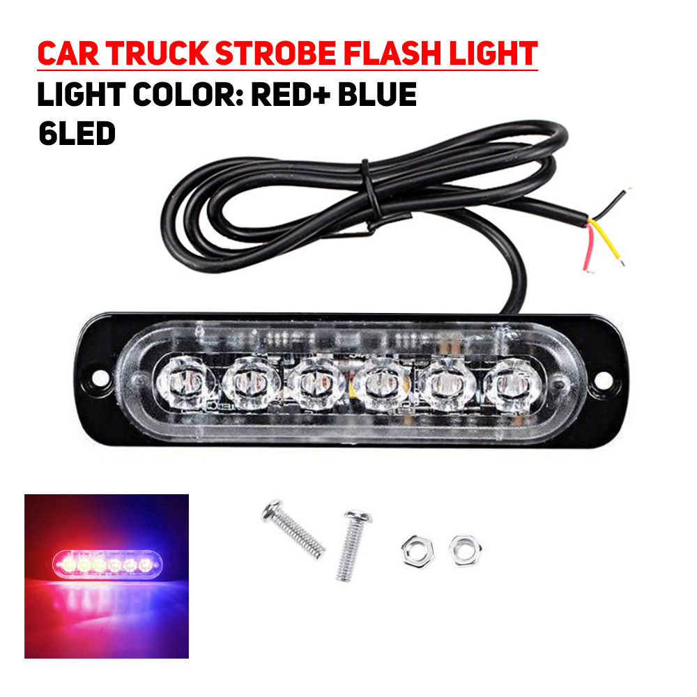 6LED Car Truck Motorbike Dual Color Strobe Flash Emergency Light Bar Lamp