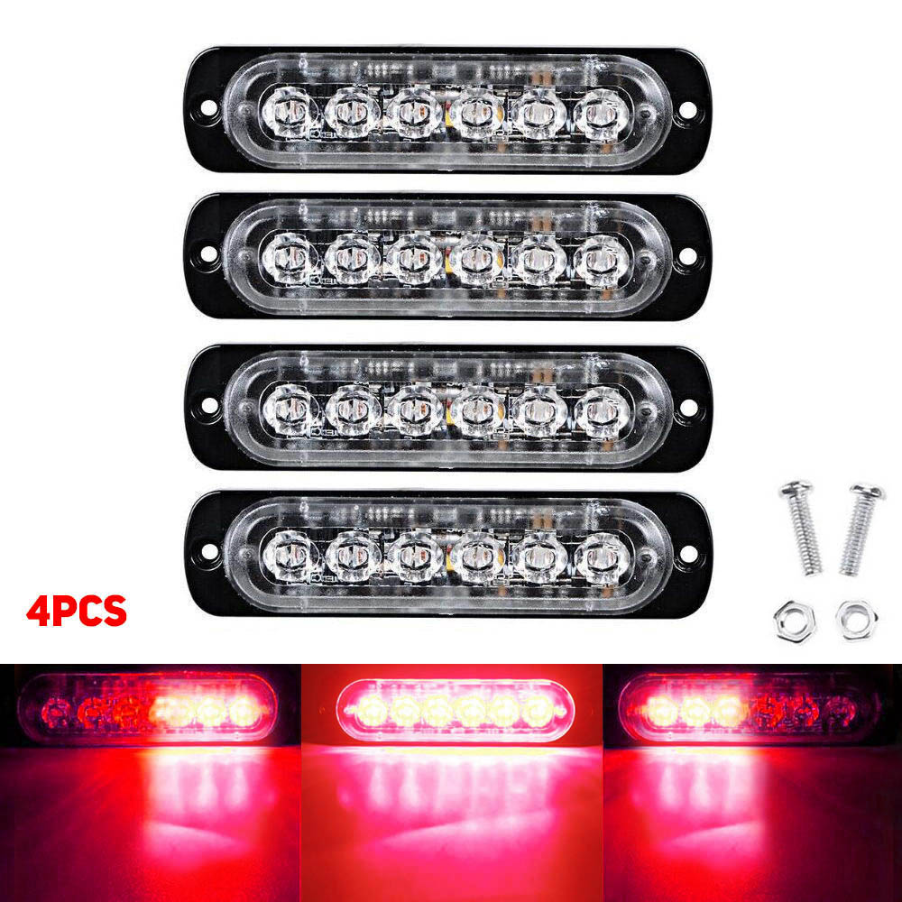 6LED 18W Car Truck Motorbike Strobe Flash Emergency Warning Light Bar Lamp