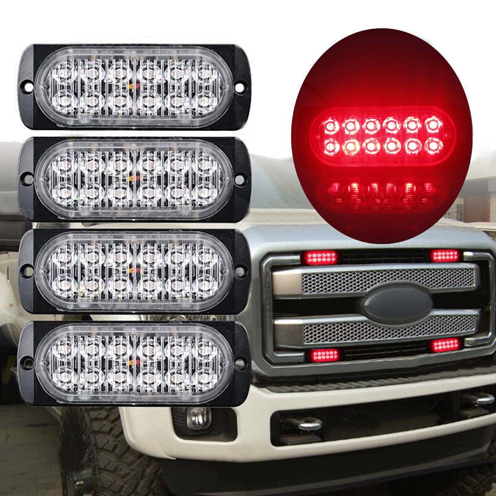 12LED 18W Car Truck Motorbike Strobe Flash Emergency Light Bar Lamp