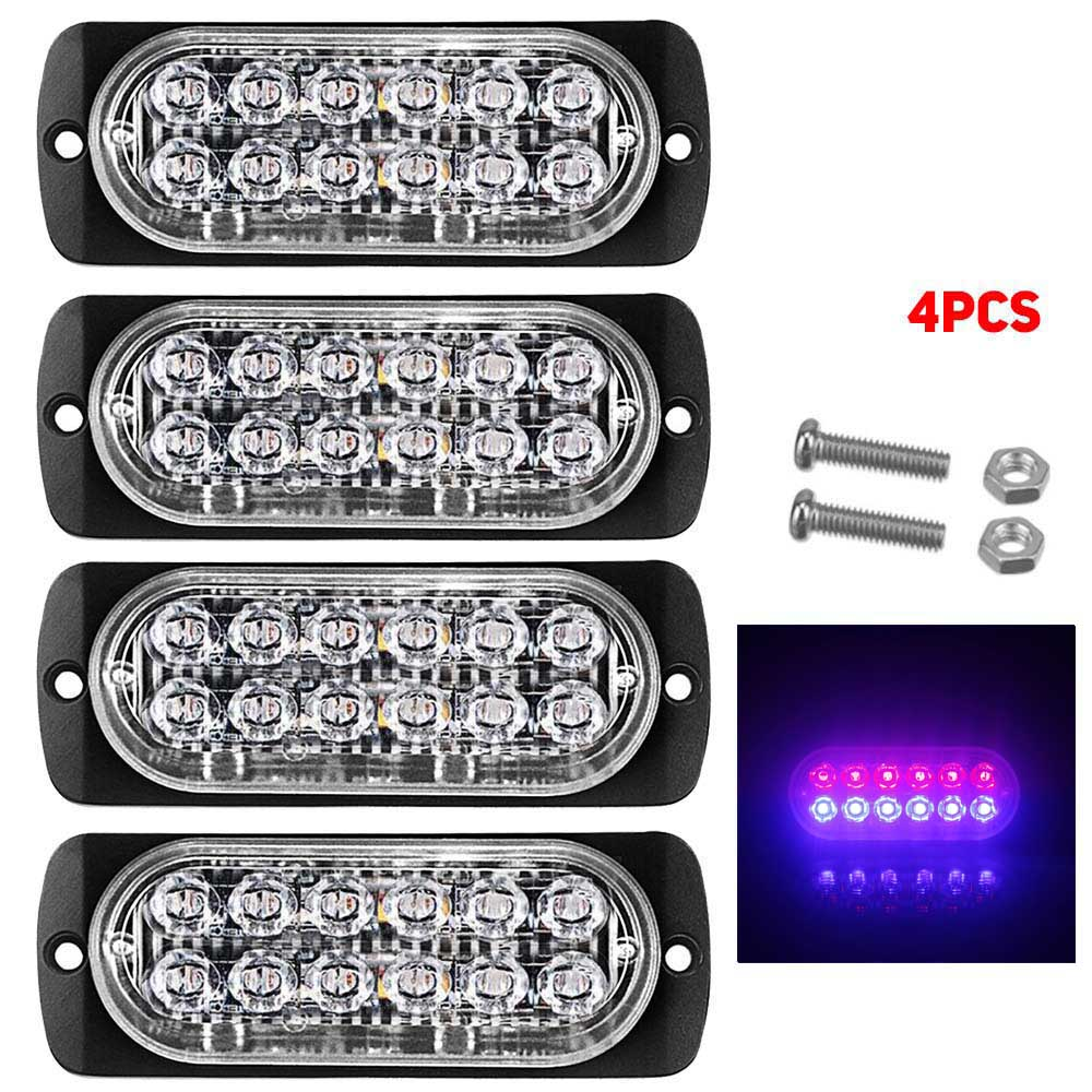 12LED 18W Car Truck Van Dual Color Strobe Flash Emergency Light Bar Lamp