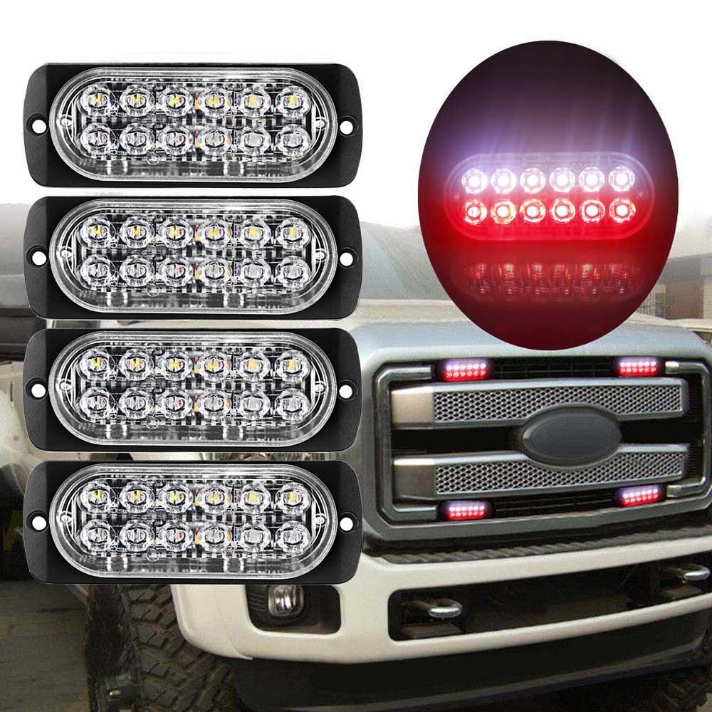 12LED 18W Car Truck Van Dual Color Strobe Flash Warning Light Lamp Bar