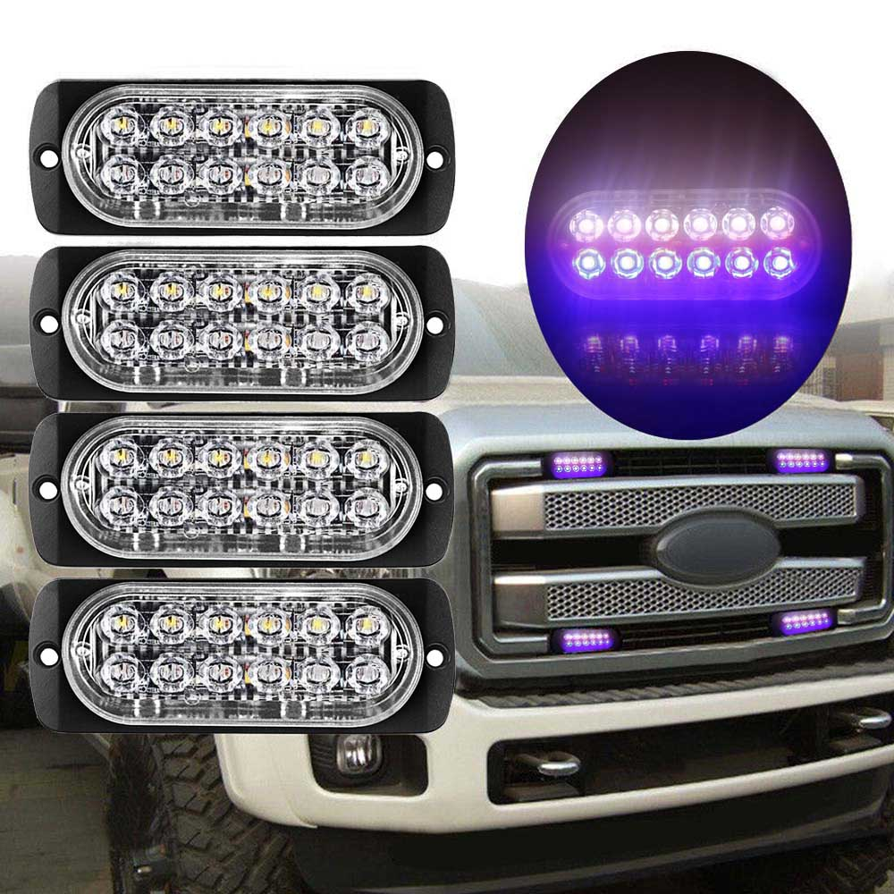 12LED 18W Car Truck MotorbikeDual Color Strobe Flash WarningLight Lamp Bar