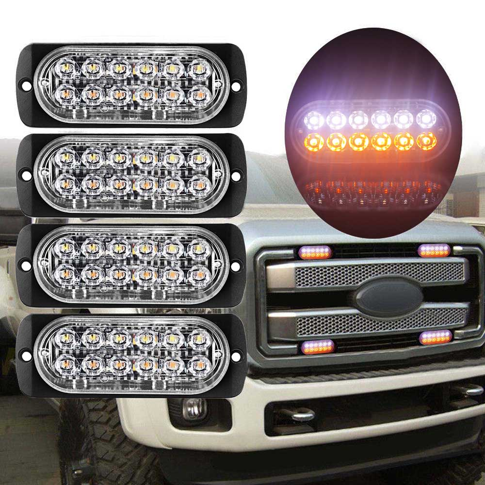 12LED 18W Car Truck Van Dual Color Strobe Flash Emergency Light Lamp Bar
