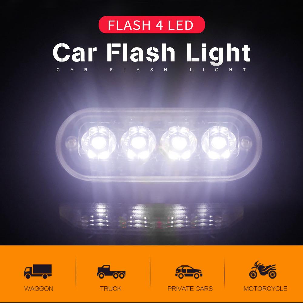 4LED 12W Car Truck Motorbike Strobe Flash Emergency Warning Light Bar Lamp