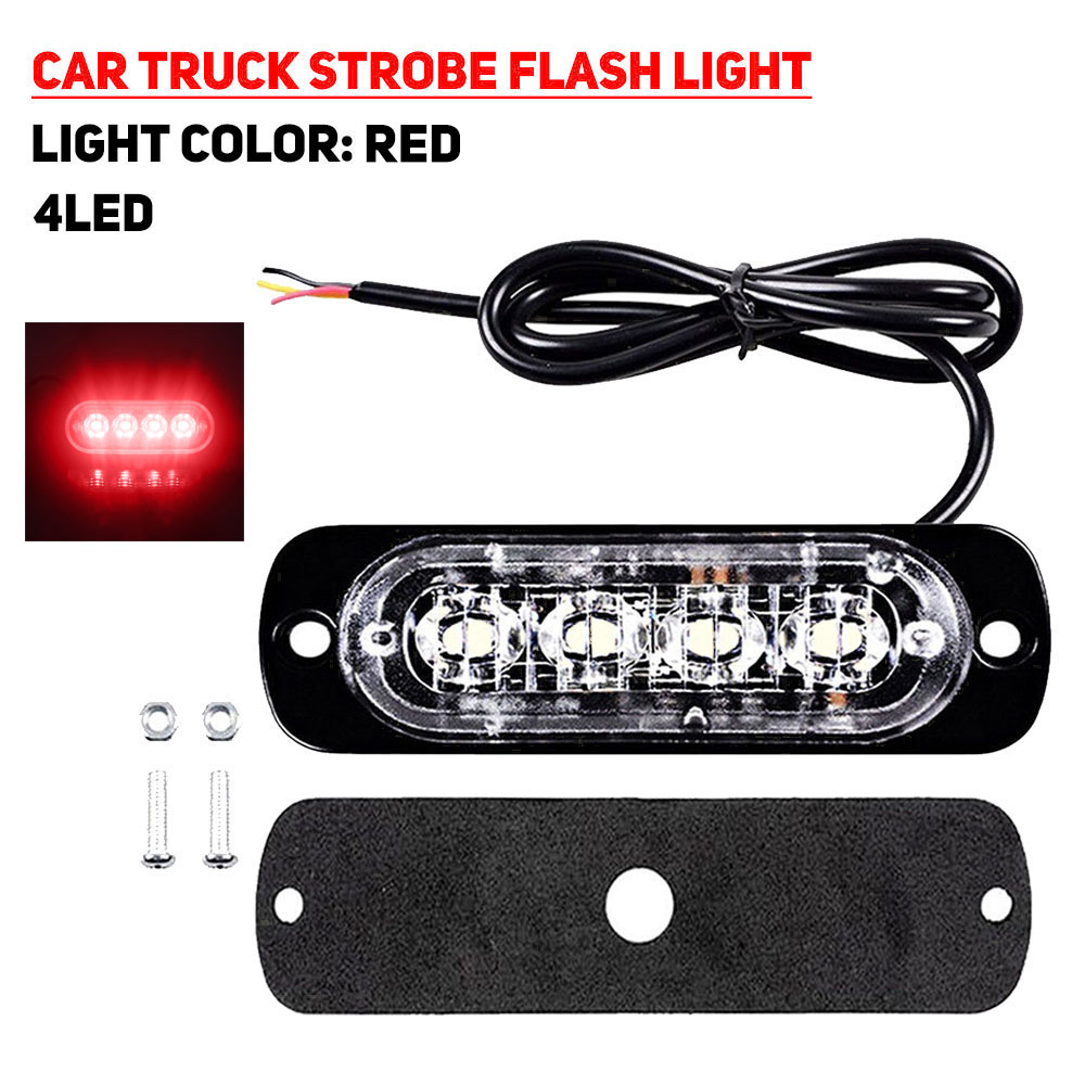 4LED 12W Car Truck Motorbike Strobe Flash Emergency Light Bar Lamp