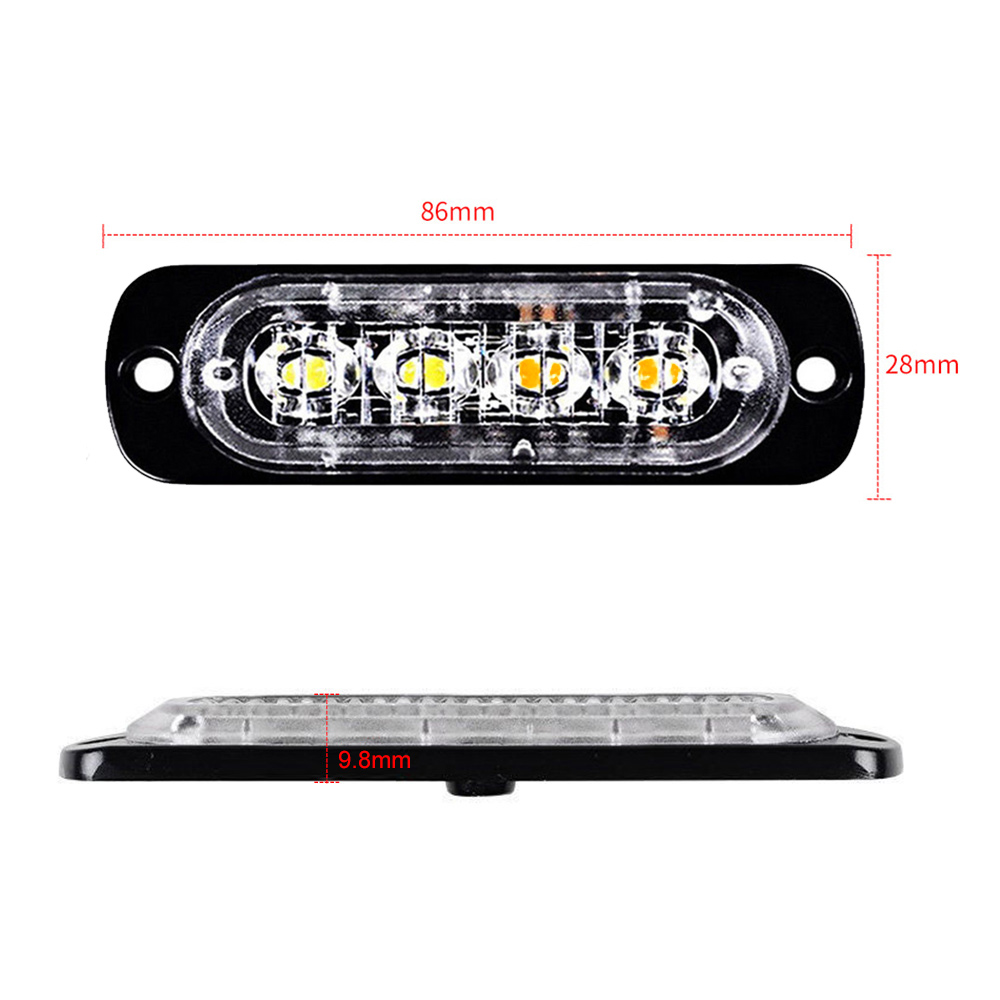 4LED 12W Car Truck Motorbike Dual Color Strobe FlashEmergency LightBar Lamp