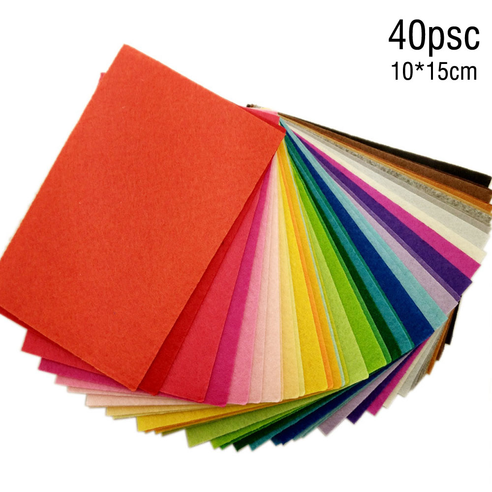 40pc 10X15cm Soft Felt Fabric Square Sheet Assorted Color for DIY Craft