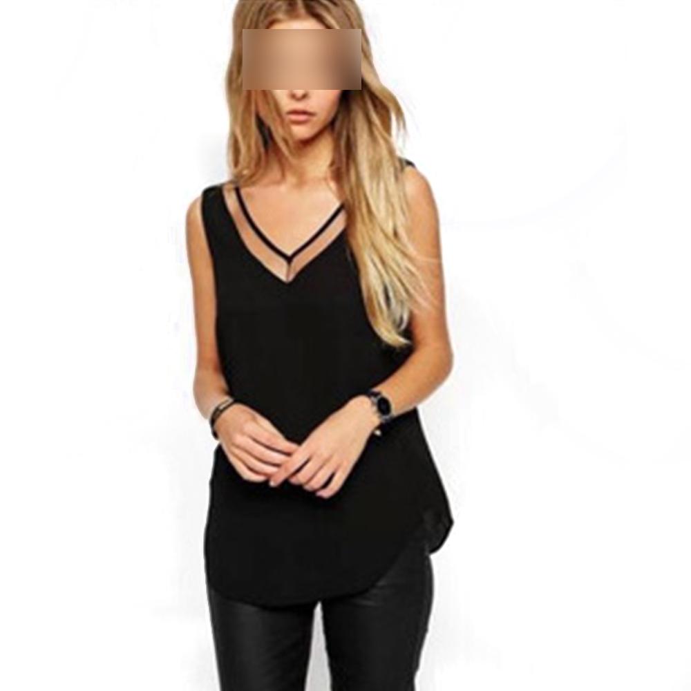 Wholesale Women Cool Sleeveless Chiffon V-neck Slim Mesh Patch Causal Vest Tank Shirt